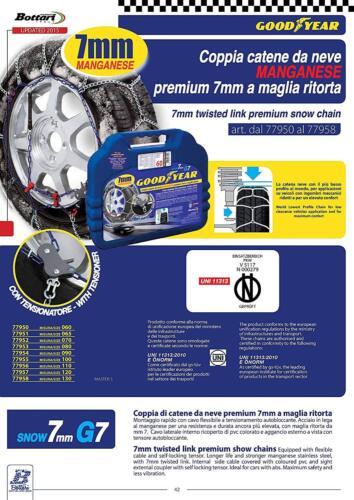 90 77954 premium 7 mm G7 a maglia ritorta 205//55-16 Catene da neve mis