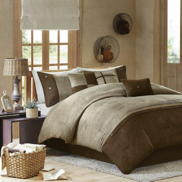 BEAUTIFUL 7PC SOFT MODERN COZY LODGE LOG CABIN BROWN TAUPE COMFORTER SET NEW!