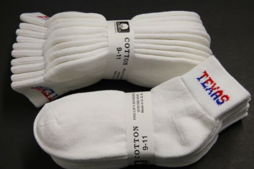 5 PAIRS ANKLE SOCKS 9-11 SHOES 6 TO 9 WHITE TEXAS Men/'s//Women/'s Cotton M HEAVY