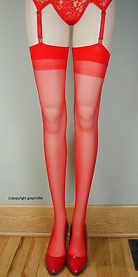 SHEER PLAIN TOP Thigh High Stockings 1725 RED O//S /& PLUS