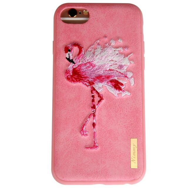 on sale 16f84 3d262 3d Embroidered Luminous Flamingo Phone Case Silica GEL Full Protective  Cover for
