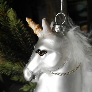 Glitzer Christbaumkugeln.Details Zu Einhorn Weiß Federn Unicorn Glitzer Christbaumkugeln Glimmer Weihnacht Pferd