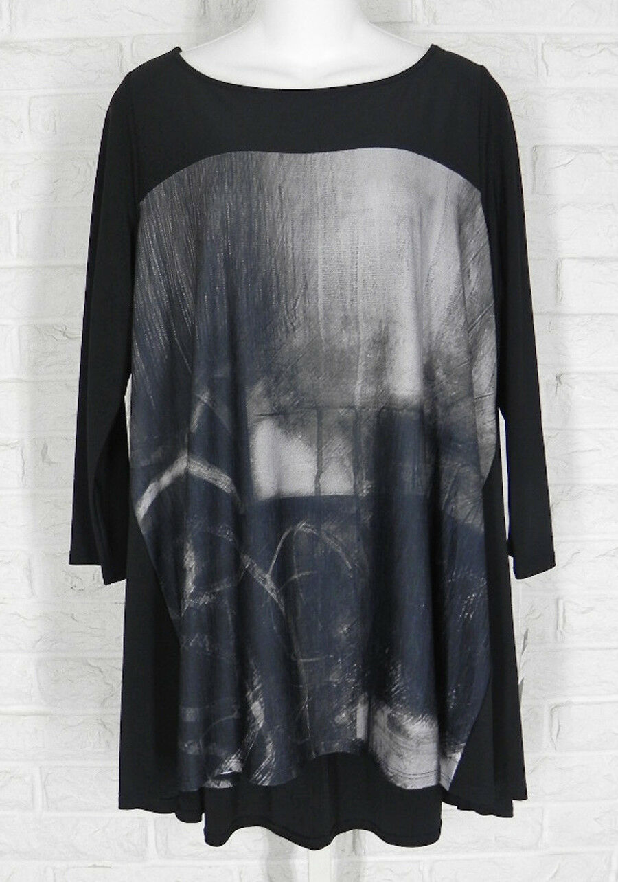 IC Collection Tunic Stretch Knit A Line High Low Abstract schwarz NWT S M L