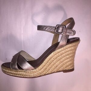 7220dd568bc Details about Pre-loved auth CHRISTIAN LOUBOUTIN size 37 rope wrapd wedge  heel SANDALS leather