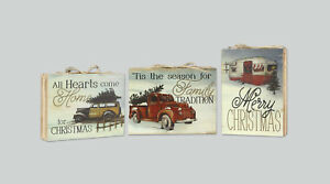Details About Christmas Trees For Sale Wooden Plaque Woody Station Wagon Red Truck Camper