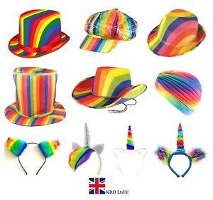 0e4fad138bd8e GAY PRIDE FANCY DRESS HATS Rainbow Wear LGBT Parade Happy Adult ...