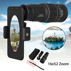 16x52-Zoom-Hiking-Monocular-Telescope-Lens-Camera-HD-Scope-Hunting-Phone-Holder