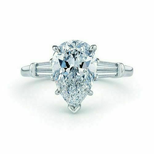 Certified  1.8 Ct Pear Shape  Cut 14 k White Gold Diamond Engagement ring