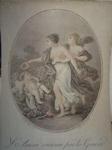 J-B-HUET-1745-1811-BELLE-GRAVURE-MYTHOLOGIE-FEMME-AMOUR-GRACES-NEOCLASSIQUE
