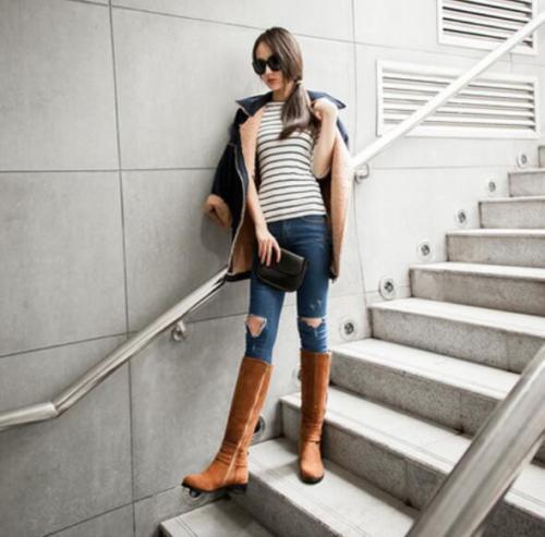 Women's Low Low Low Heel Ridding Knee High Boots Suede Casual Buckles Zip Knight shoes 380d7d