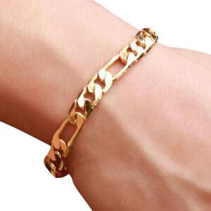 Hip-Hop-18K-Gold-Plated-Women-Men-Bracelet-Figaro-Curb-Chain-Bangle-Jewelry