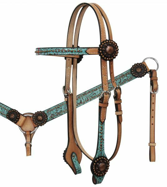 Showman Light Leather TEAL FILIGREE Copper pink  Conchos Bridle BreastCollar SET  hot sports