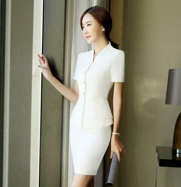 Womens OL Formal Career Button Coat Skirt Suits Slim Fit Work Dress Short Sleeve