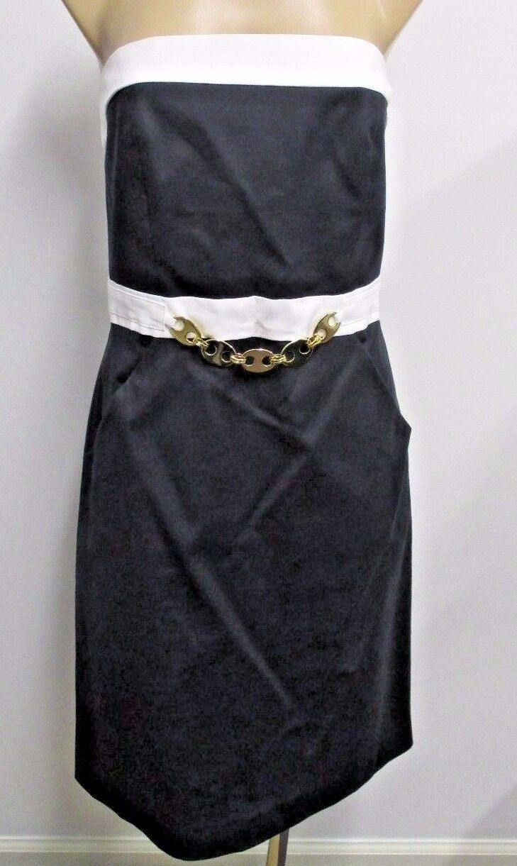 MILLY OF NEW YORK Strapless Navy Dress w  White Accents & gold Chain  Belt  - 10
