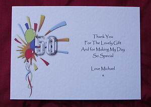Image Is Loading PERSONALISED BIRTHDAY THANK YOU CARDS 40TH 50TH 5PACK