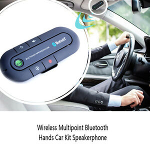 Wireless Multipoint Bluetooths Hand Free Car Kit Speakerphone Speaker Visor Clip