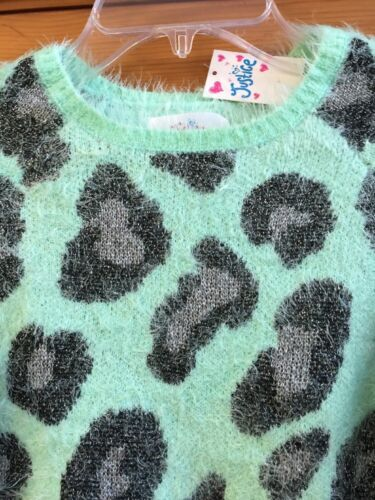 Justice Animal Print Fuzzy Sweater **NWT** NEW Size 10 Mint Frost Green