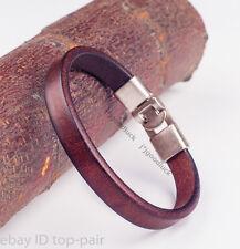 Men's Charm Punk Quality Genuine Leather Band Wrap Bracelet Wristband For Women