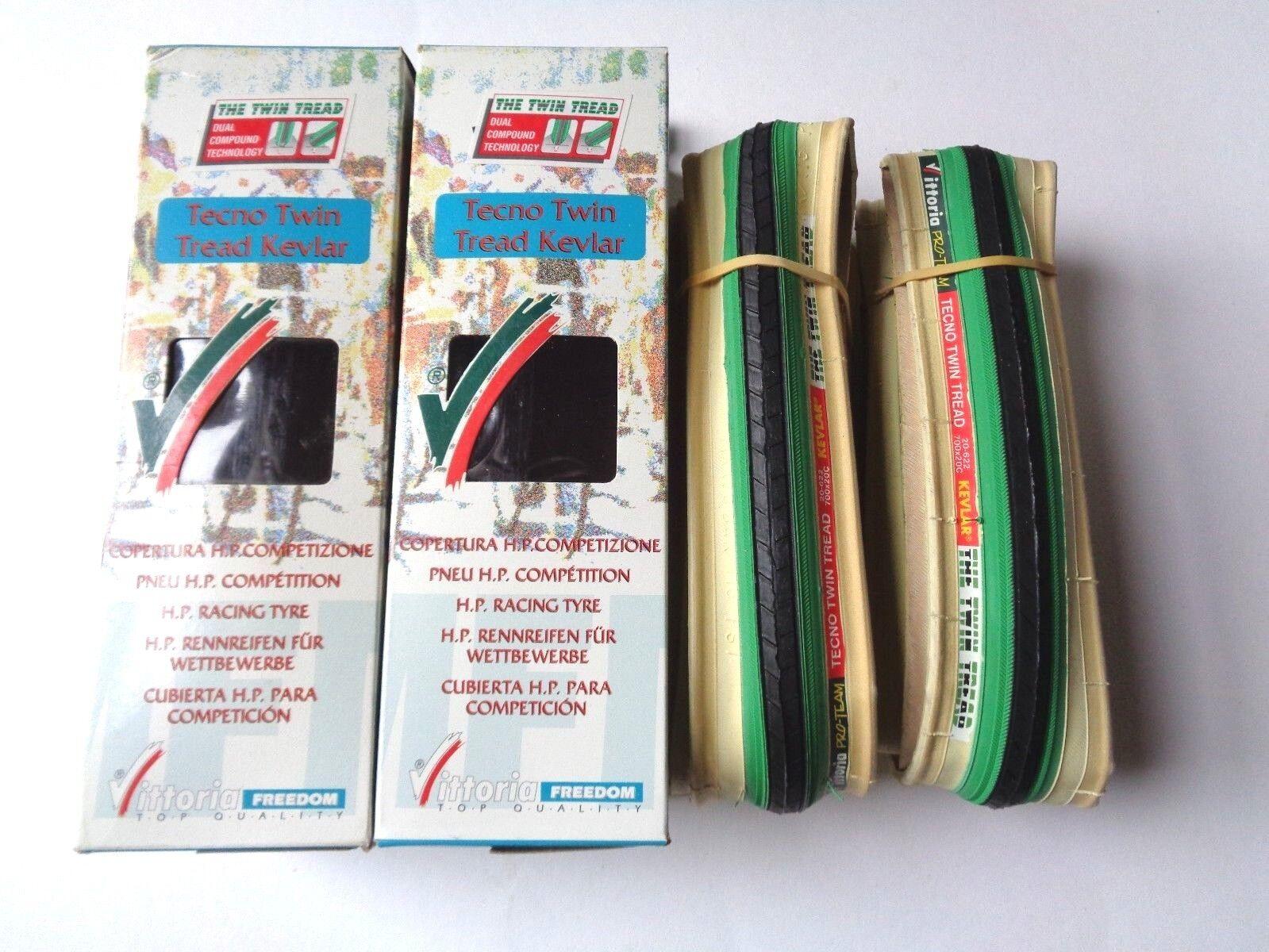 Rare NOS Vintage VITTORIA 'TECNO TWIN TREAD' KEVLAR 700 x  20C clincher tyres  low prices