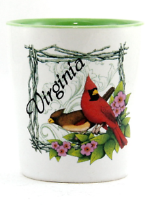 VIRGINIA-CARDINAL-PATTERN-CERAMIC-SHOT-GLASS-SHOTGLASS