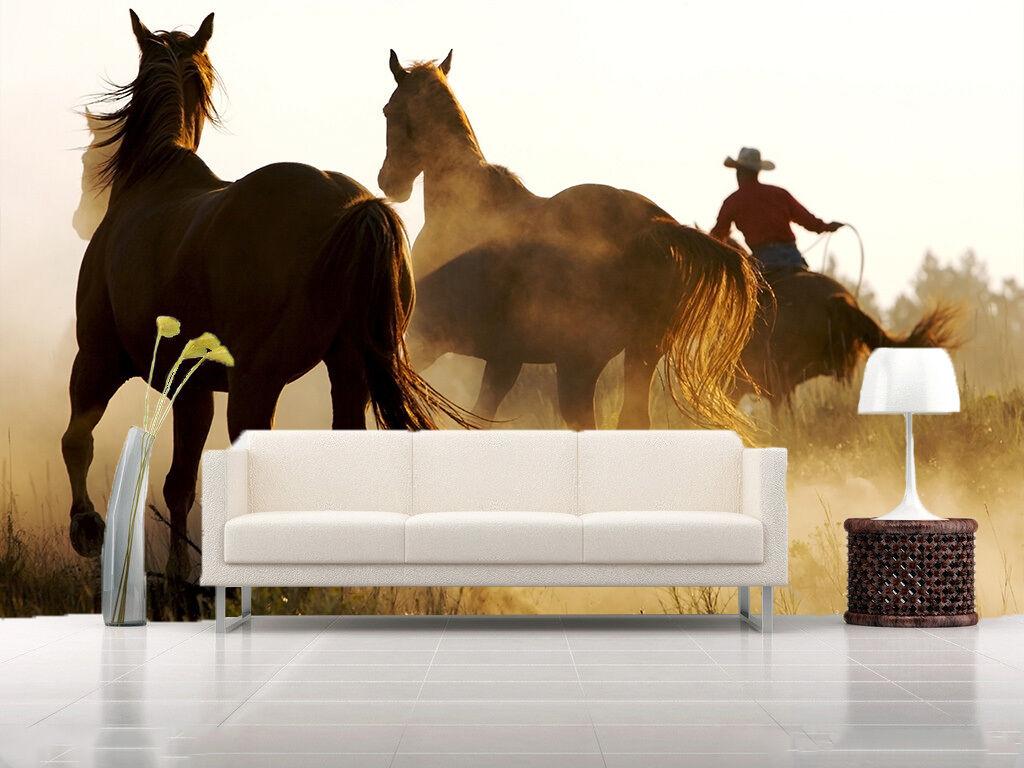 3D Sunlight Running Horses Wall Paper Wall Print Decal Wall AJ WALLPAPER CA