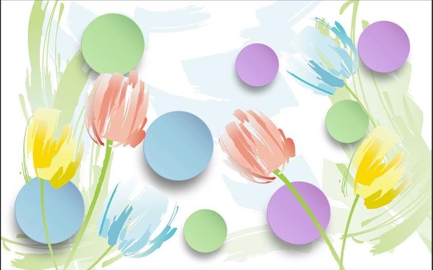 3D Farbige Tulpen Ringe 84 Tapete Tapete Tapete Wandgemälde Tapete Tapeten Bild Familie DE   Kunde zuerst  100be3