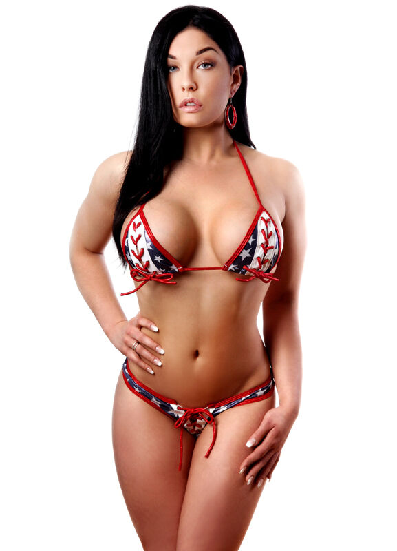 BodyZone Patriotic Lace Up Red, White & bluee Bikini OS Dancewear