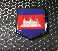 "Cambodia Flag Domed CHROME Emblem Proud Flag Car 3D Sticker 2""x 2.25"""