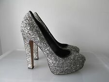ALDO SIlver Glitter Platform Heels Size 6 1/2