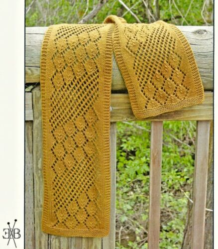 GORGEOUS LACY STREAMING LEAVES SCARFto KNIT by EUGEN K BEUGLER FIBER TRENDS