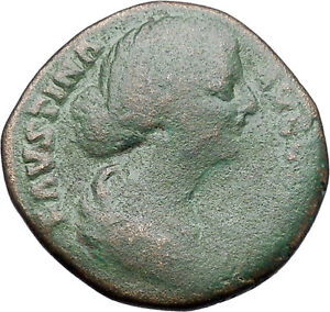 Faustina-II-wife-of-Marcus-Aurelius-Sestertius-Ancient-Rare-Roman-Coin-i47555