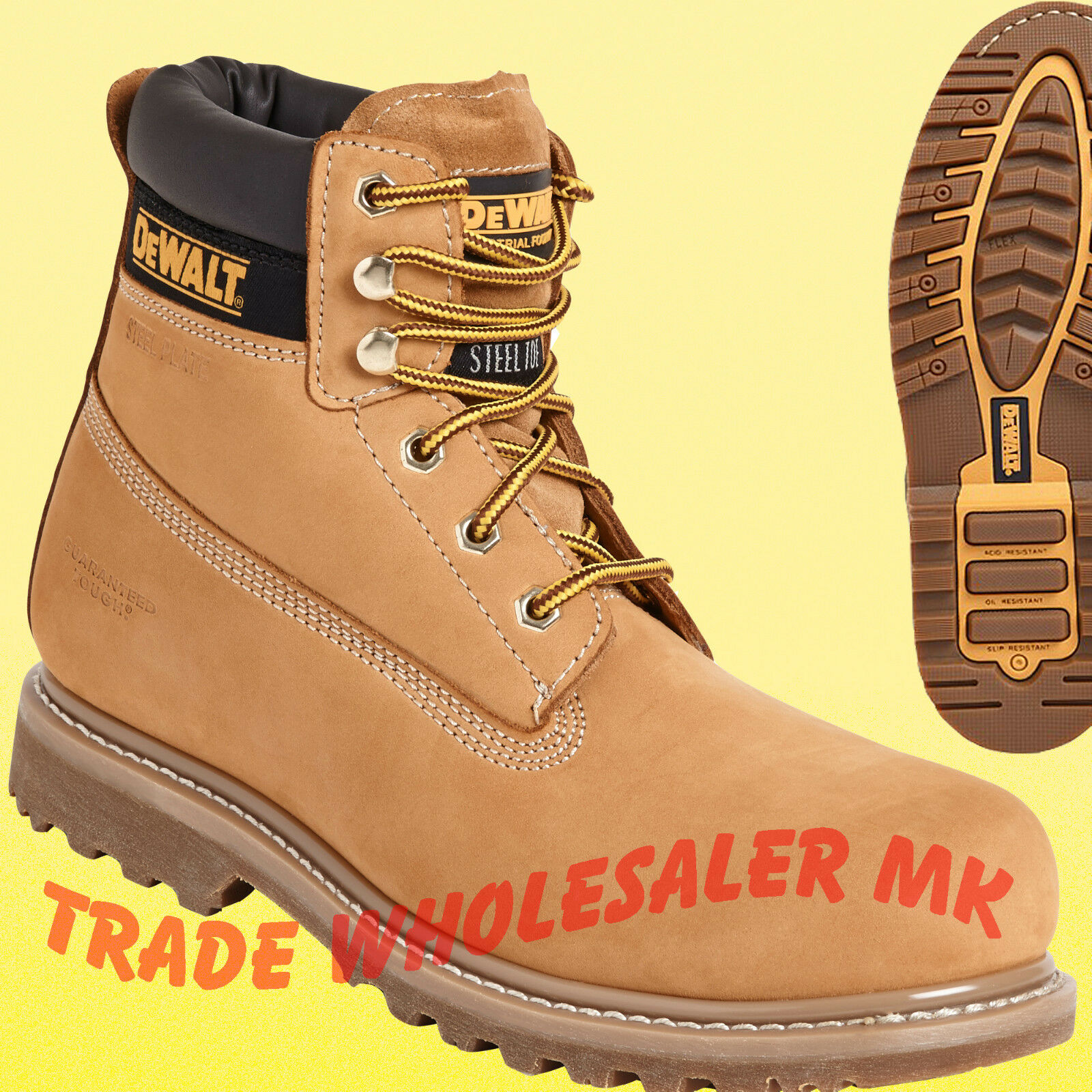 DeWALT EXPLORER HONEY STEEL TOE CAP SAFETY WORK BOOT size 7,8,9,10,11,12