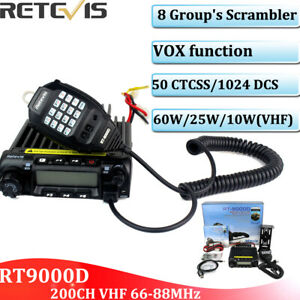 Details about Retevis RT-9000D VHF 66-88MHz Mobile Car Ham Radio 200CH  CTCSS/DCS 8 Group's