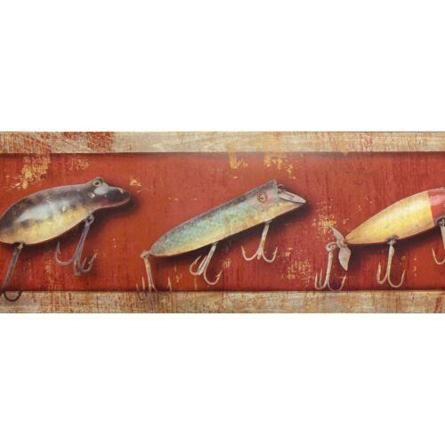 11.4cm x 4.57m Approx Wallpaper Border LOD21301B Antique Fishing Lures