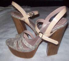Vince Camuto Miner  Natural Multi Leather Platform Sandals size 10.5 M NEW