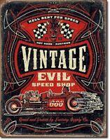 12.5 X 16 Tin Sign Vintage Evil Speed Shop Hell Bent Rods Metal Sign