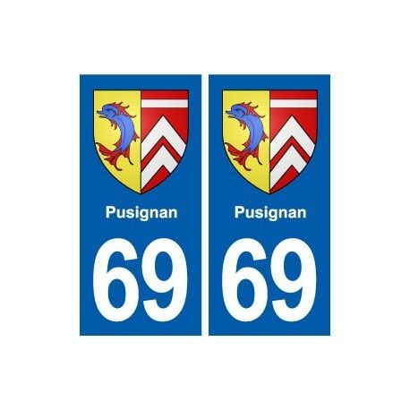 69 Pusignan blason autocollant plaque stickers ville droits