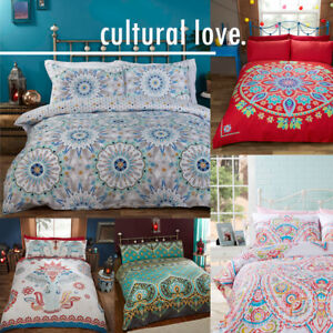 Ethnic-Indian-Elephant-Floral-Paisley-Print-Duvet-Quilt-Cover-Set