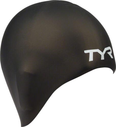 New TYR Long Hair Silicon Swim Cap Black
