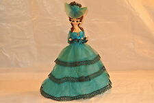 Southern Belle Vintage Bradley Doll in Teal and Black Lace Accented Gown