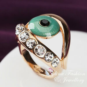 18K-Yellow-Gold-Plated-Simulated-Crystal-Emerald-Large-Eye-Personality-Ring