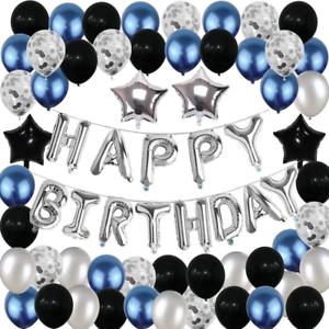Decoracion De Cumpleaños Para Hombre Happy Birthday Globos Negro Azul Plateado Ebay