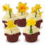 15x DAFFODIL MIX SPRING EASTER STAND UP Edible Cake Toppers Birthday ThankYou D1