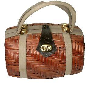 Rattan Wicker Woven Handbag Leather Buckle Barrel Basket Purse Bag Lined Spain