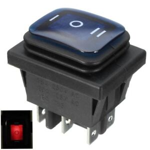 3 Position 6Pin Waterproof Rocker Switch With Lamp Light DSDT On/Off/On Car Boat