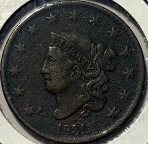 1831 Matron Head Cent 1C Old US Large Cent Type (lg.  Letters) Environmental Dmg