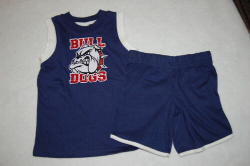 Toddler Boys Shorts Set BULLDOGS Navy Blue MUSCLE TEE 2T 3T 4T Fisher Price