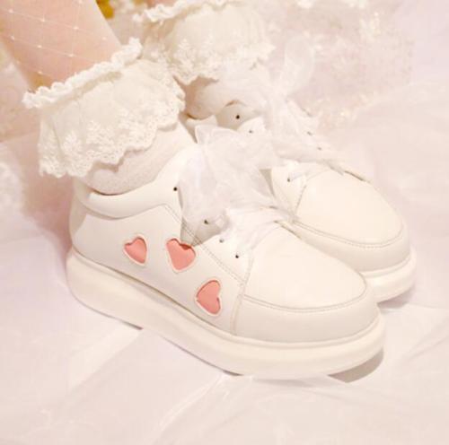 Womens Platform Sneaker Round Toe Lace Up Lolita Wedge Heels Sport Shoes Vogue 8