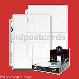 50-4-Pocket-BCW-Pro-Postcard-Photo-Archival-Display-Pages-Sheets-Album-Holders