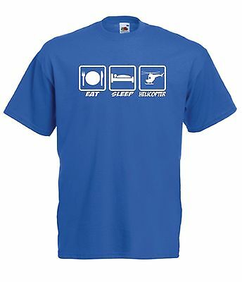 EAT SLEEP HELICOPTER funny NEW Men Women T SHIRT TOP size 8 10 12 14 16 s m l xl